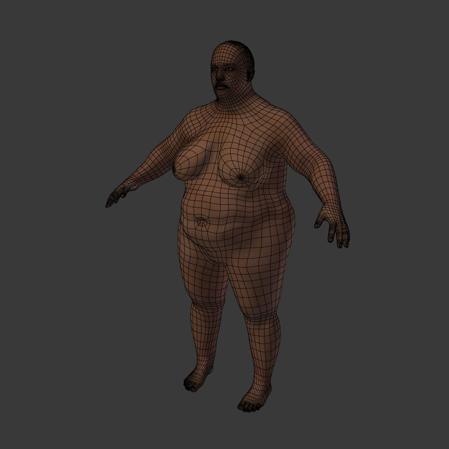 Fat Mid Aged Woman royalty-free 3d model - Preview no. 10