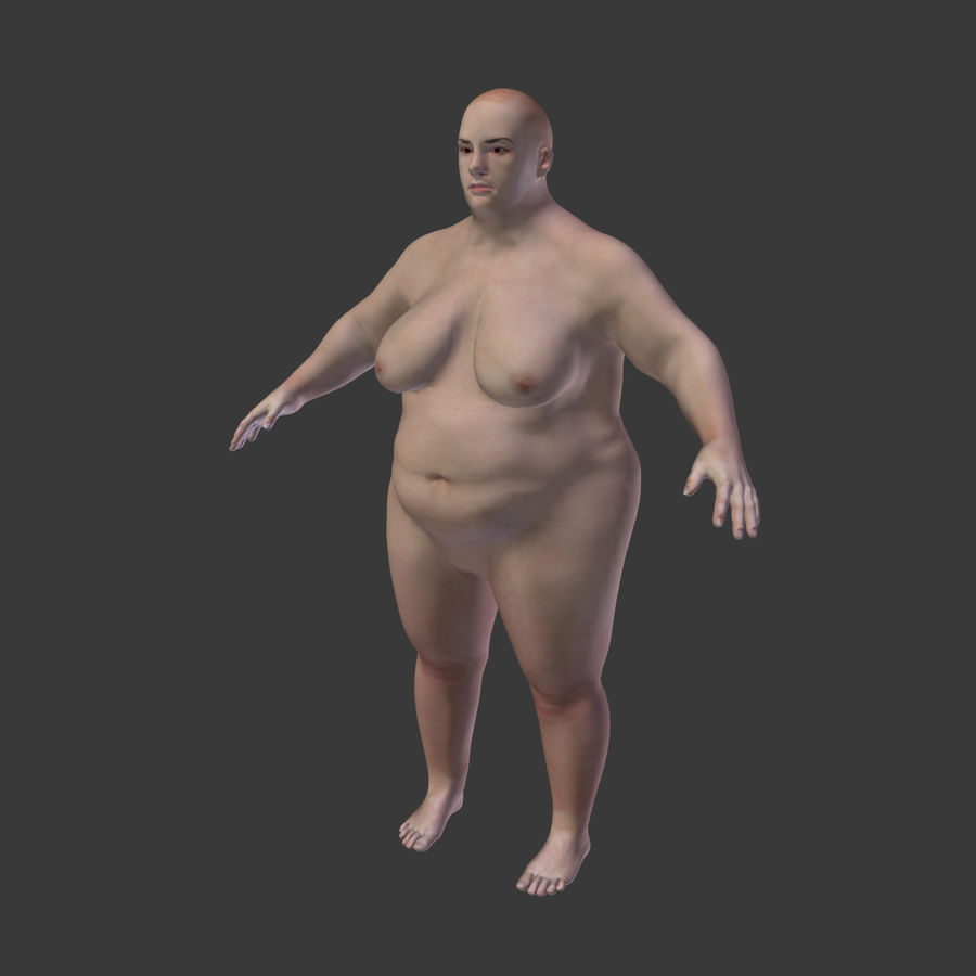 Fat Mid Aged Woman royalty-free 3d model - Preview no. 6
