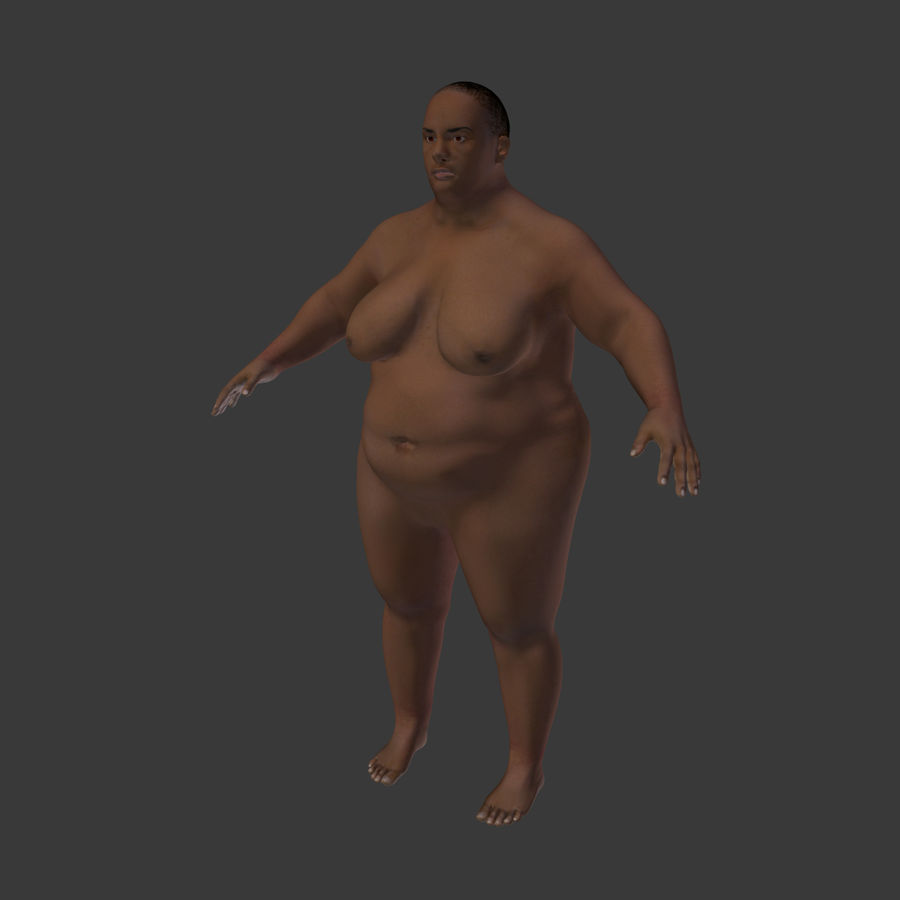 Fat Mid Aged Woman royalty-free 3d model - Preview no. 7