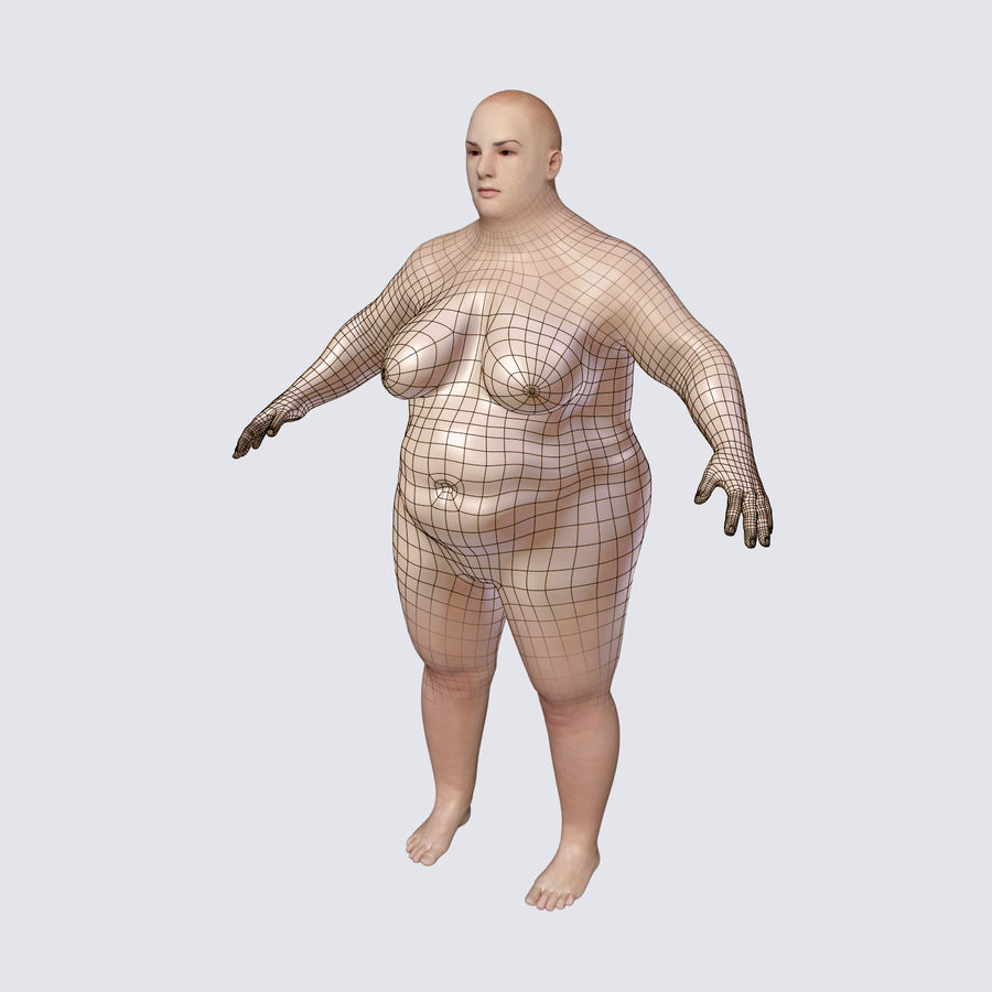 Fat Mid Aged Woman royalty-free 3d model - Preview no. 1