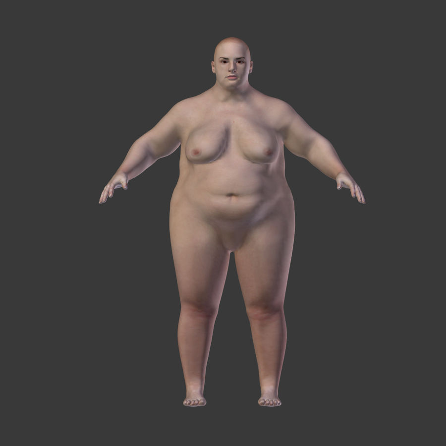 Fat Mid Aged Woman royalty-free 3d model - Preview no. 11