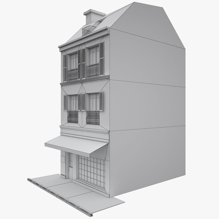 Gebouw Parijs gevel royalty-free 3d model - Preview no. 11