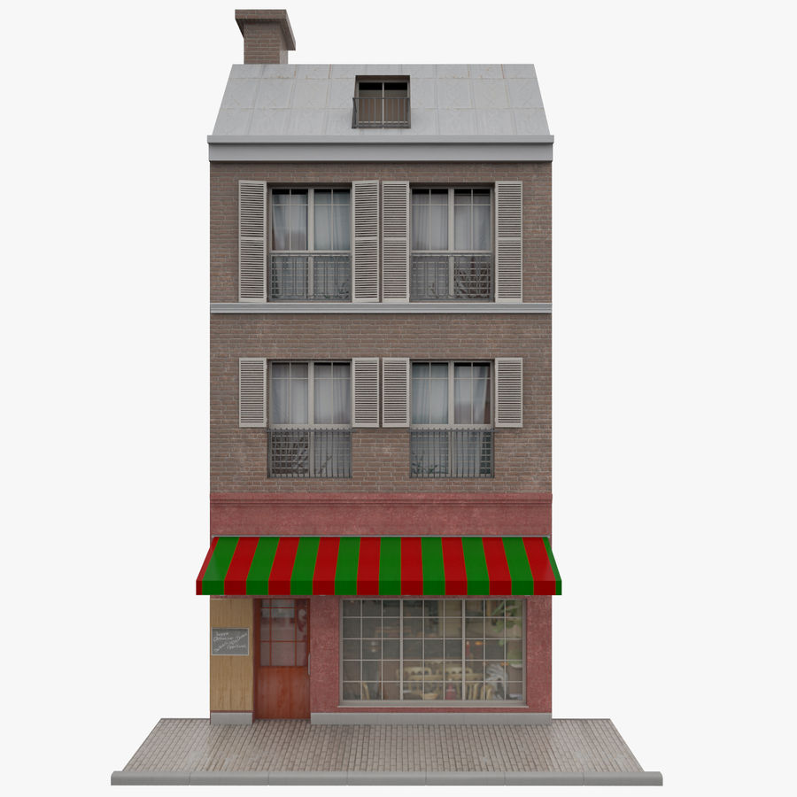 Gebouw Parijs gevel royalty-free 3d model - Preview no. 1