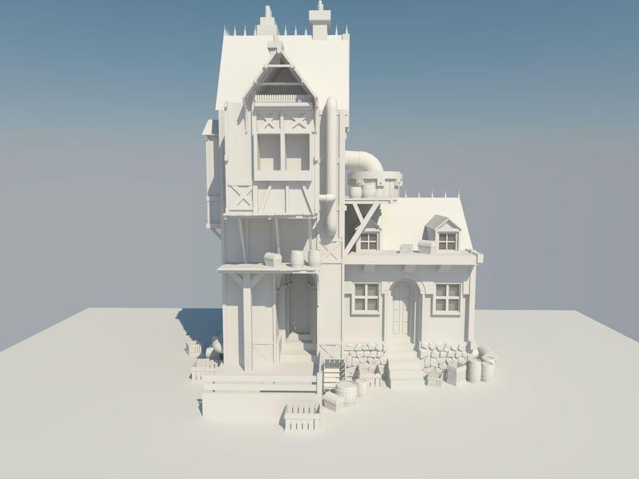 Średniowieczny dom steampunk royalty-free 3d model - Preview no. 2