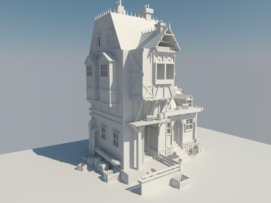 Średniowieczny dom steampunk royalty-free 3d model - Preview no. 3