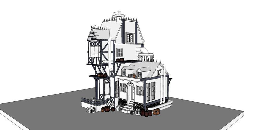 Średniowieczny dom steampunk royalty-free 3d model - Preview no. 11