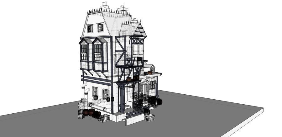 Średniowieczny dom steampunk royalty-free 3d model - Preview no. 10