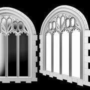 Okno gotyckiego łuku. 3d model