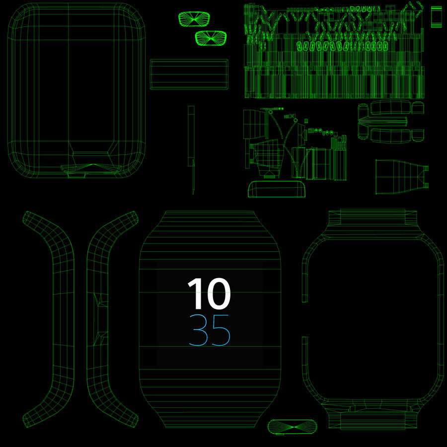 Sony SmartWatch 3 Silver royalty-free 3d model - Preview no. 16