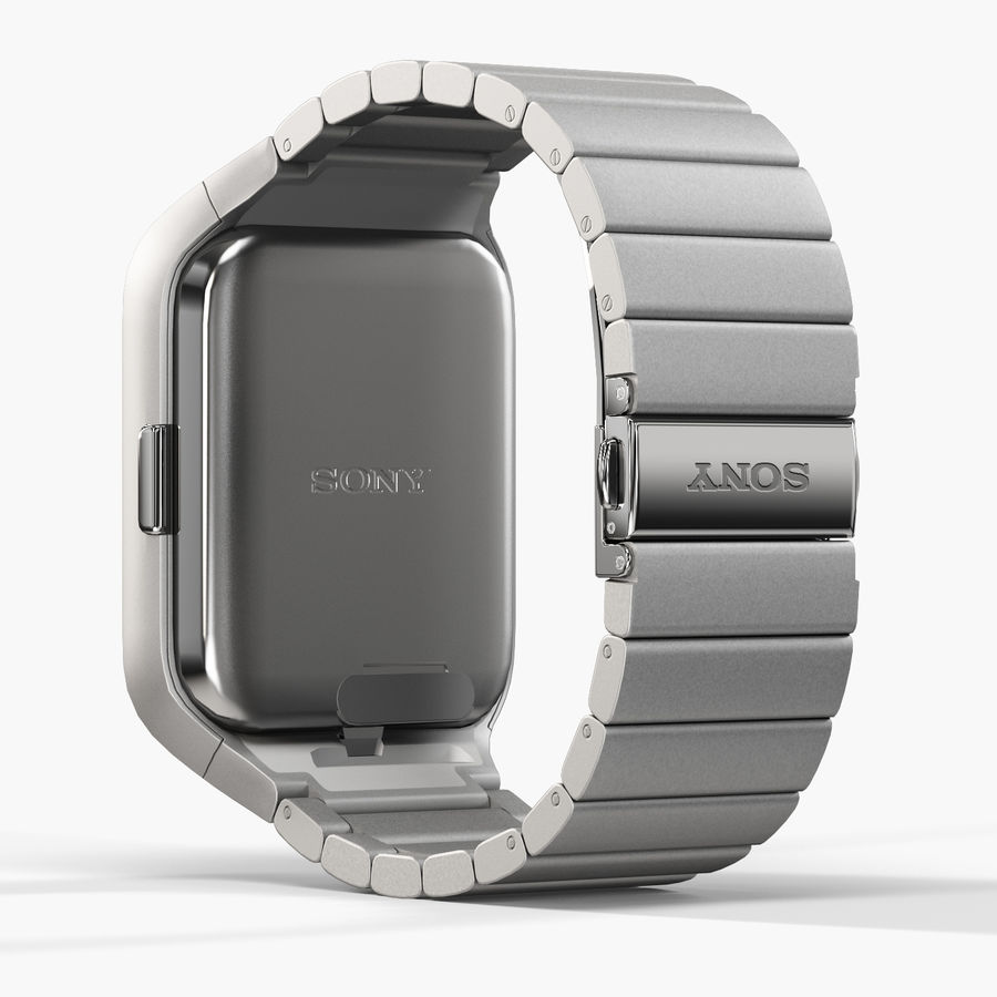 Sony SmartWatch 3 Silver royalty-free 3d model - Preview no. 6