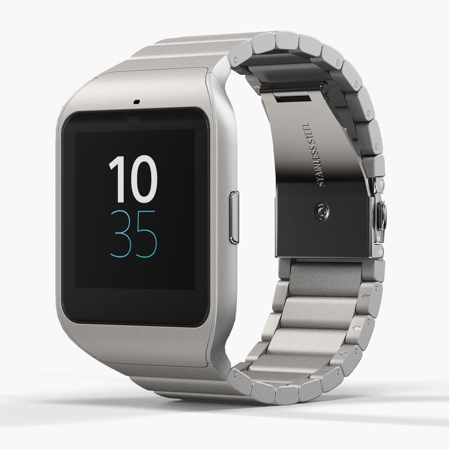 Sony SmartWatch 3 Silver royalty-free 3d model - Preview no. 3