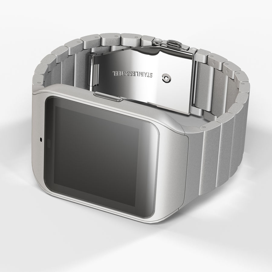 Sony SmartWatch 3 Silver royalty-free 3d model - Preview no. 7
