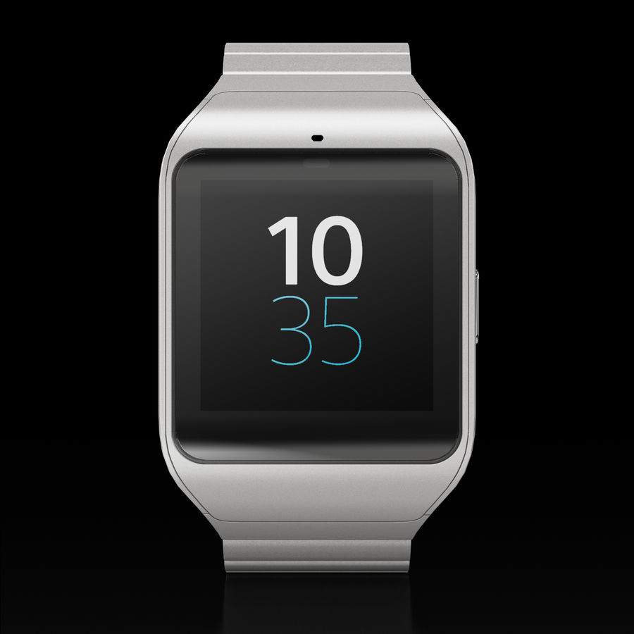 Sony SmartWatch 3 Silver royalty-free 3d model - Preview no. 2