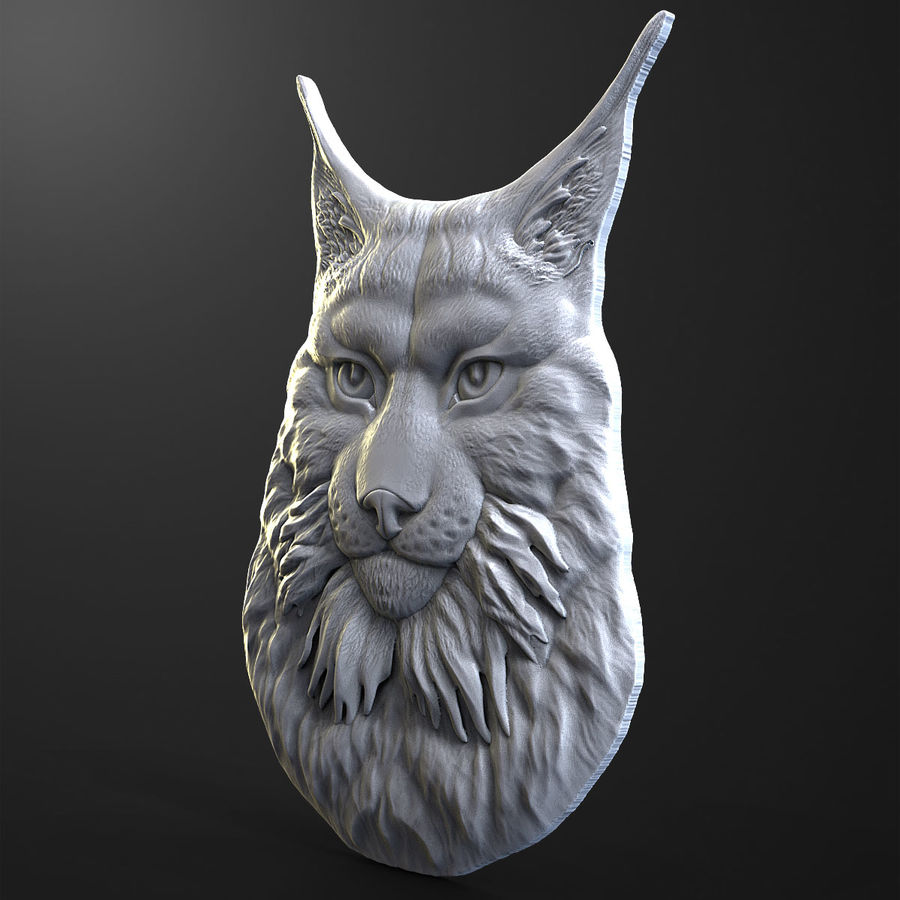 lynx relief for CNC royalty-free 3d model - Preview no. 3