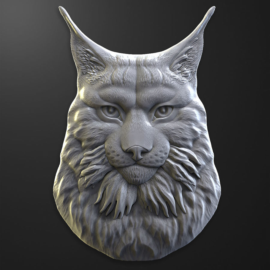 lynx relief for CNC royalty-free 3d model - Preview no. 2