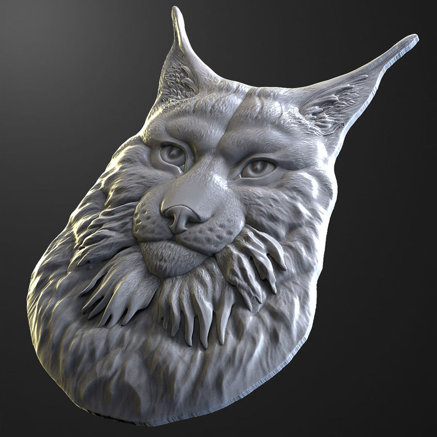 lynx relief for CNC royalty-free 3d model - Preview no. 4
