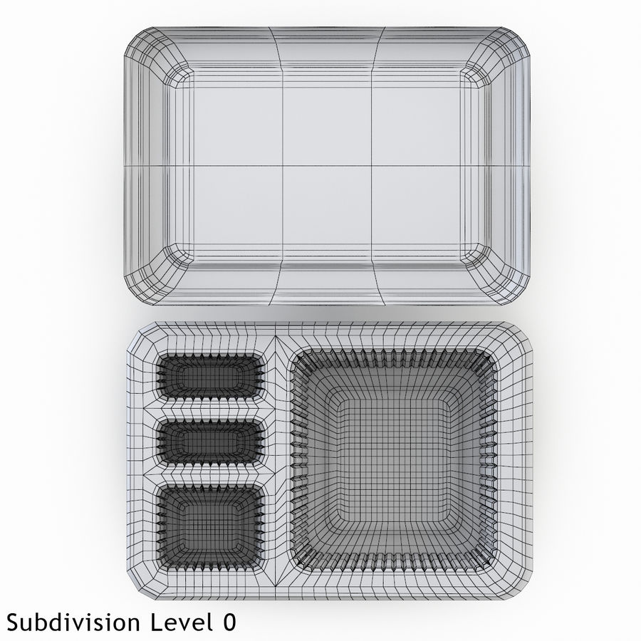 Transparent Plastic Food Container royalty-free 3d model - Preview no. 3