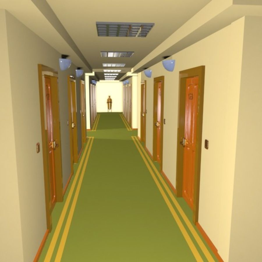 Cartoon Hotel Hallway royalty-free 3d model - Preview no. 2