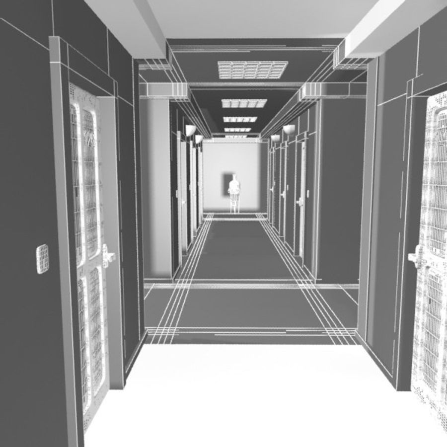 Cartoon Hotel Hallway royalty-free 3d model - Preview no. 10