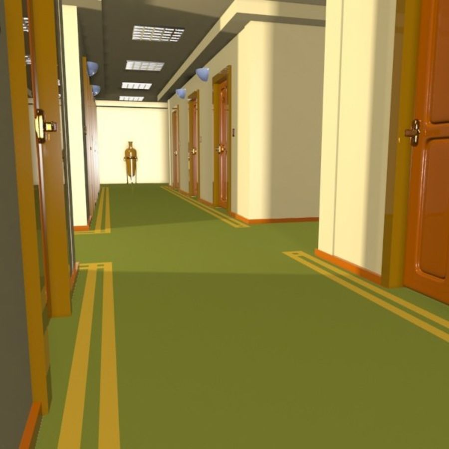 Cartoon Hotel Hallway royalty-free 3d model - Preview no. 6