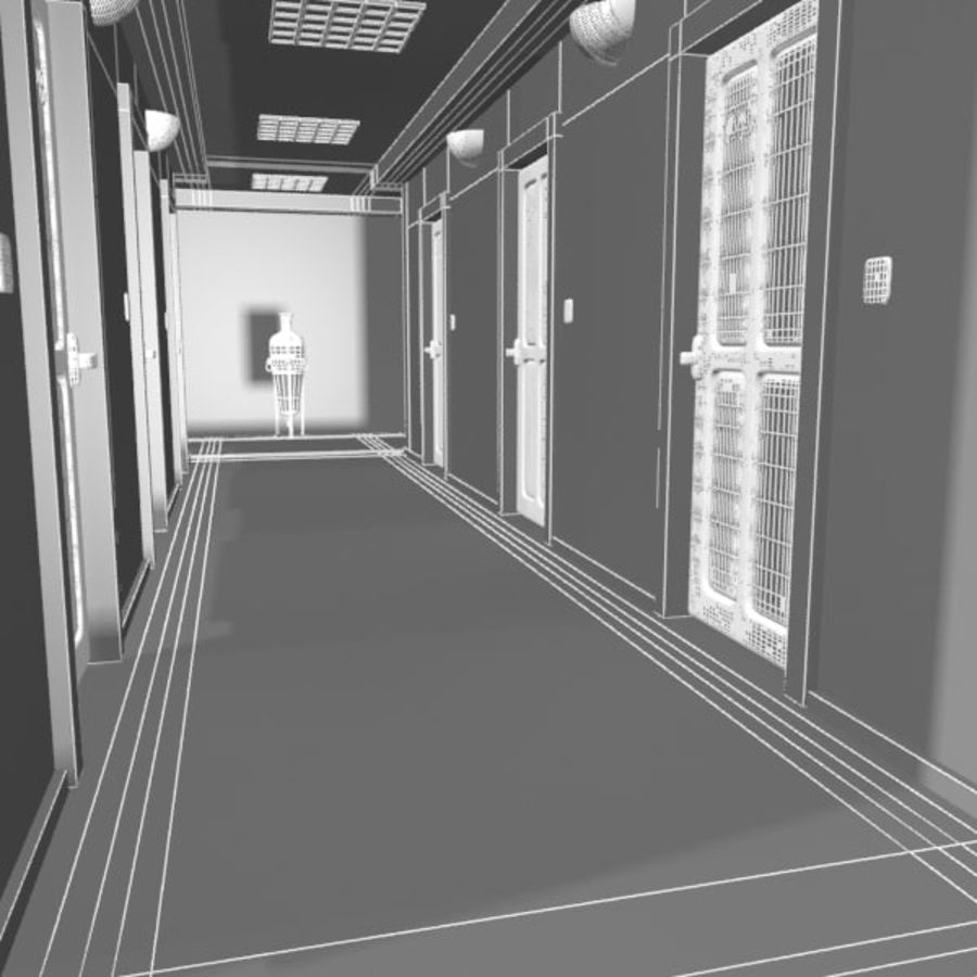 Cartoon Hotel Hallway royalty-free 3d model - Preview no. 8