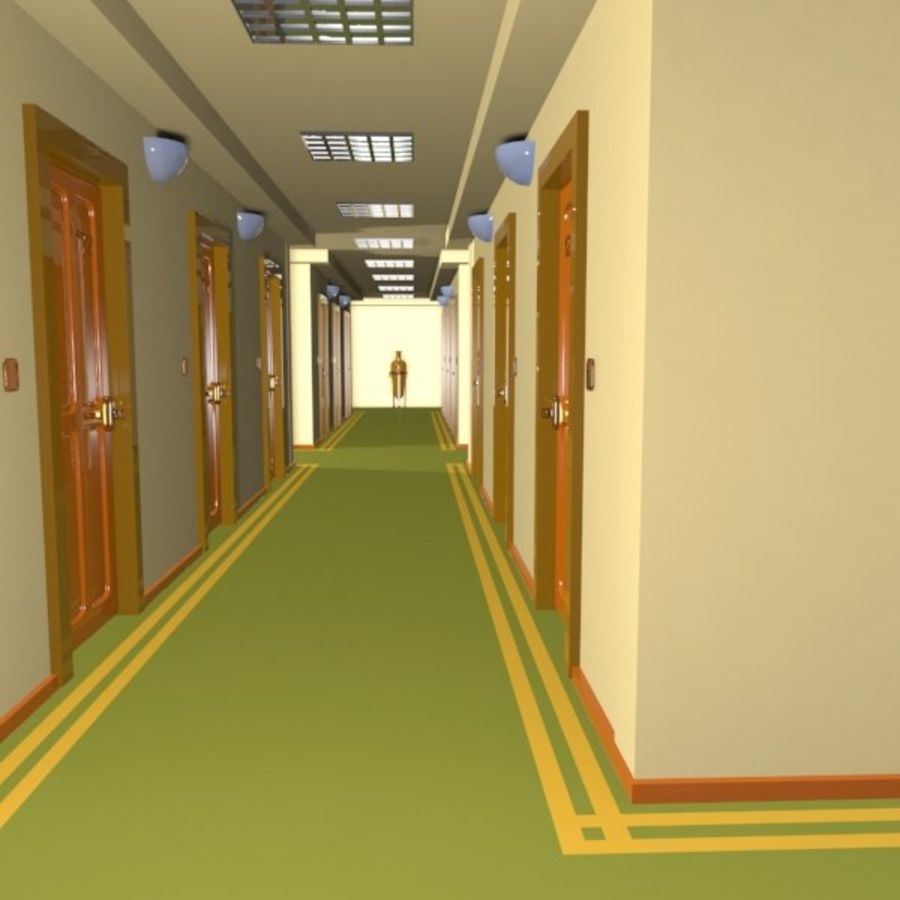 Cartoon Hotel Hallway royalty-free 3d model - Preview no. 3