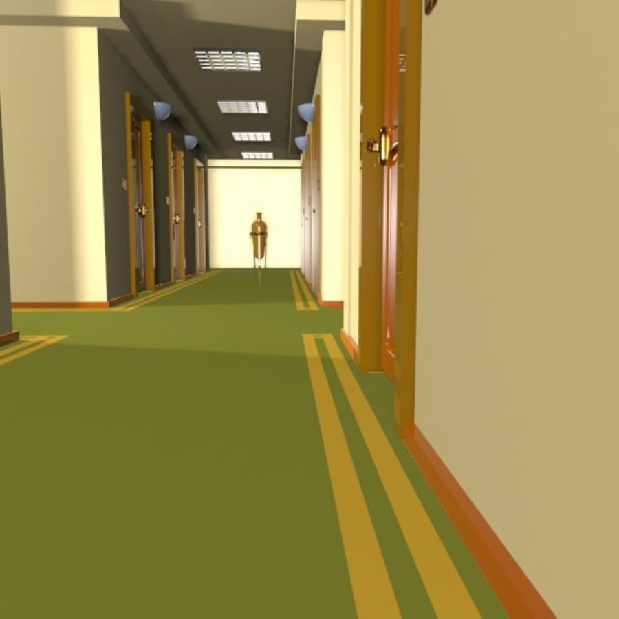 Cartoon Hotel Hallway royalty-free 3d model - Preview no. 5