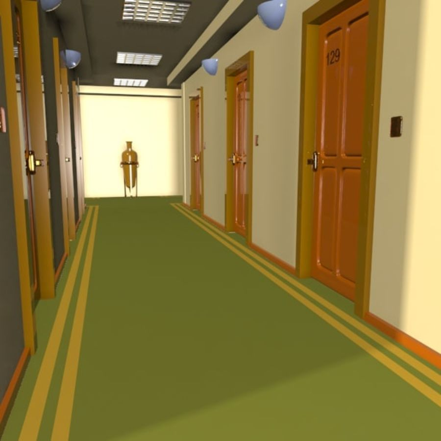 Cartoon Hotel Hallway royalty-free 3d model - Preview no. 7