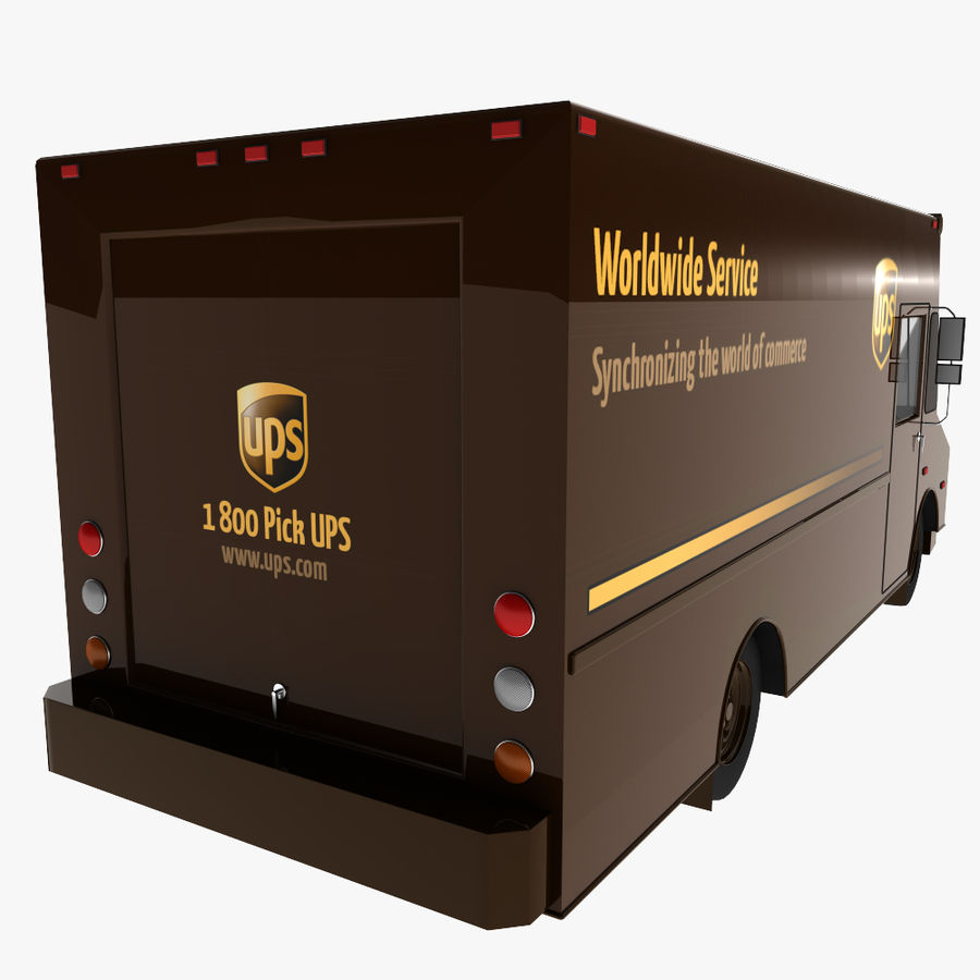 UPS Truck royalty-free 3d model - Preview no. 5