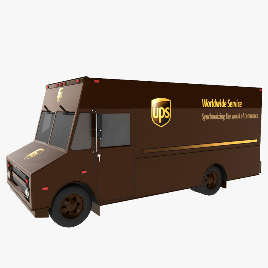 UPS Truck royalty-free 3d model - Preview no. 2