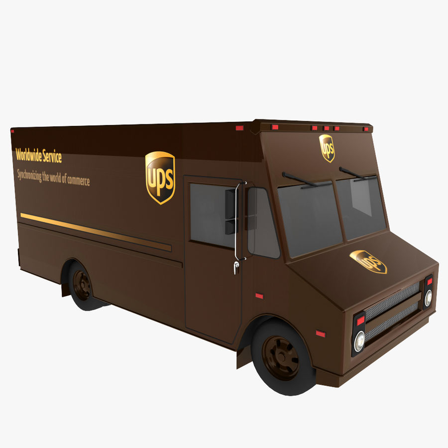 UPS Truck royalty-free 3d model - Preview no. 7