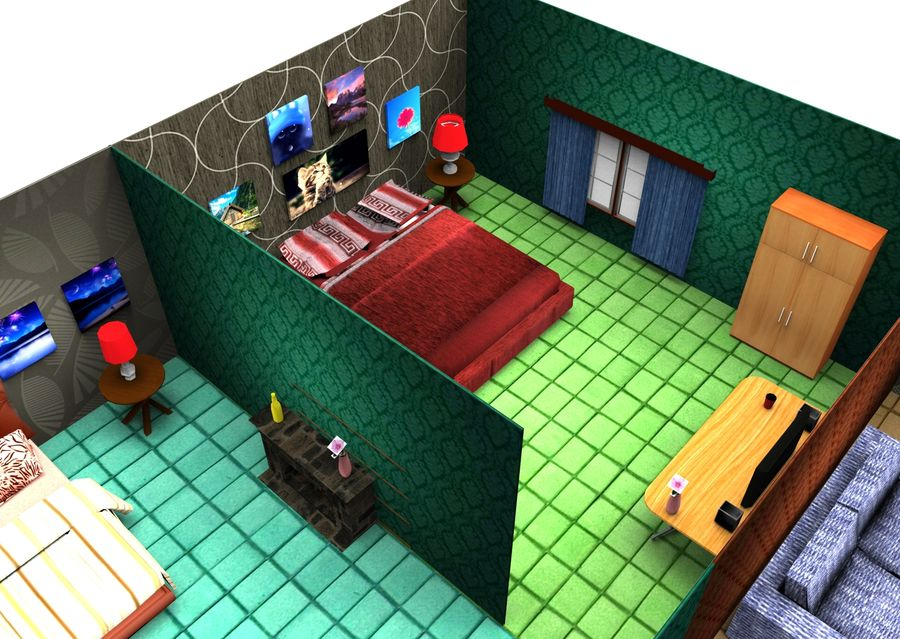 Home Interior Basse poly jeu prêt royalty-free 3d model - Preview no. 3