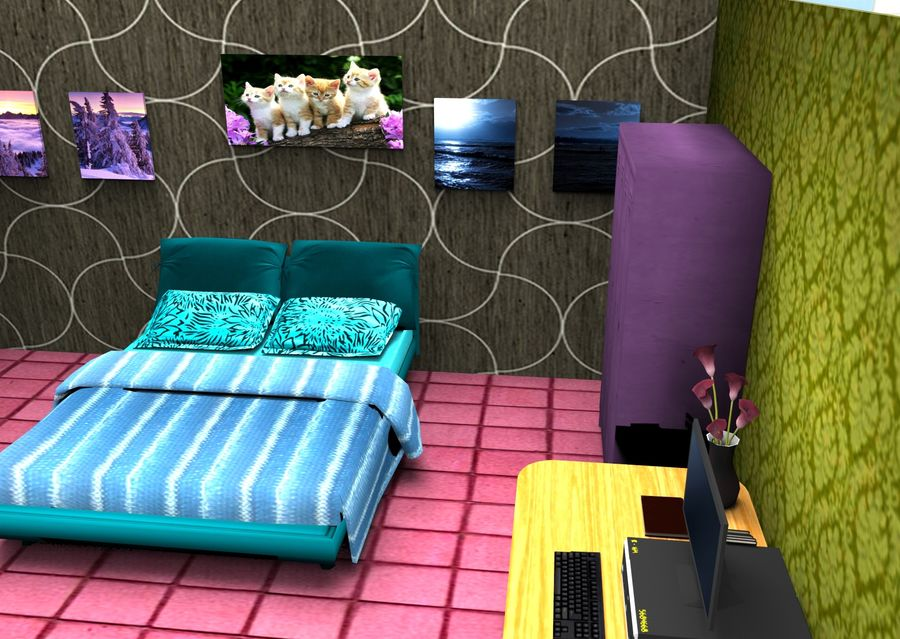 Home Interior Basse poly jeu prêt royalty-free 3d model - Preview no. 12