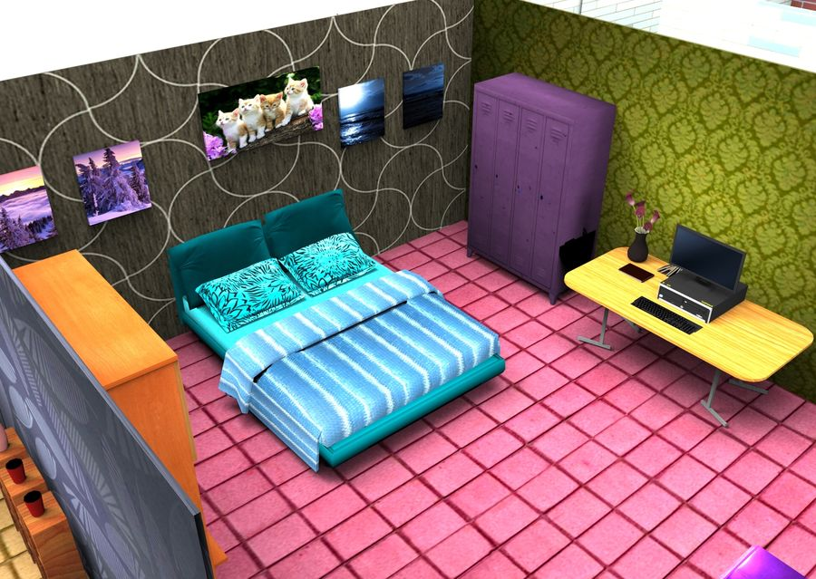 Home Interior Basse poly jeu prêt royalty-free 3d model - Preview no. 6