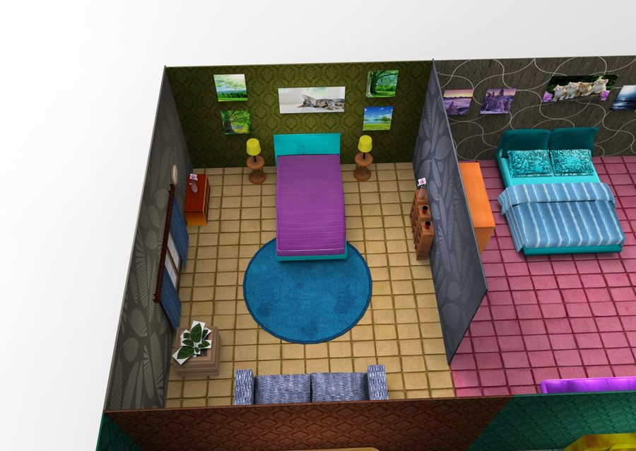 Home Interior Basse poly jeu prêt royalty-free 3d model - Preview no. 30