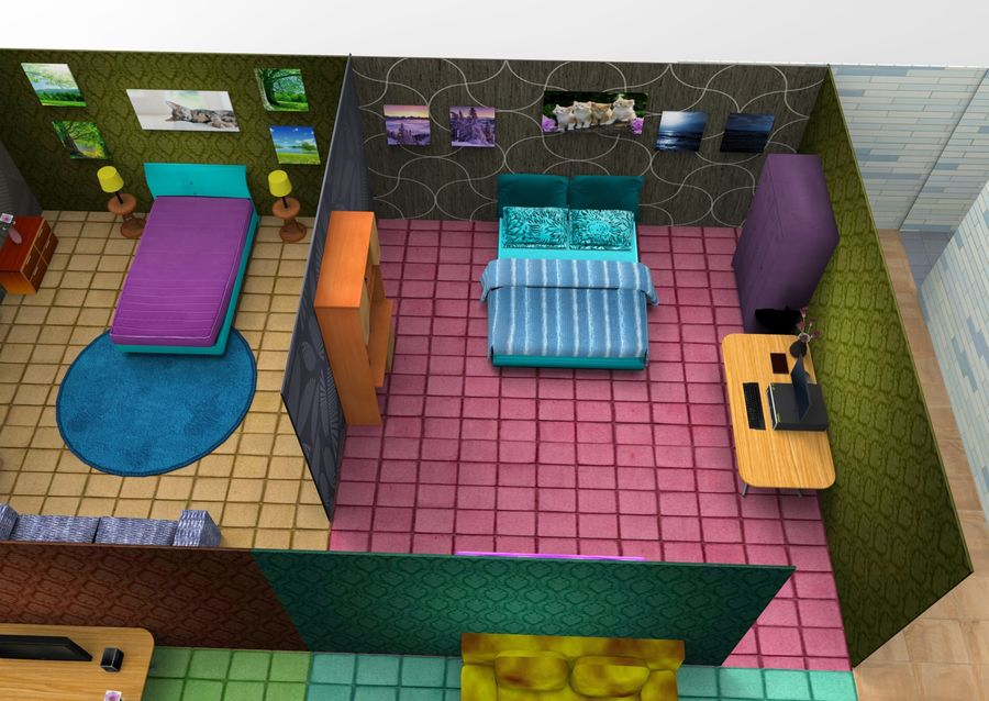Home Interior Basse poly jeu prêt royalty-free 3d model - Preview no. 31
