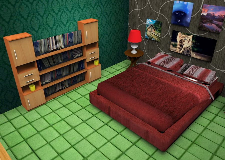 Home Interior Basse poly jeu prêt royalty-free 3d model - Preview no. 16
