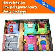 Интерьер дома Низкополигональная игра готова 3d model