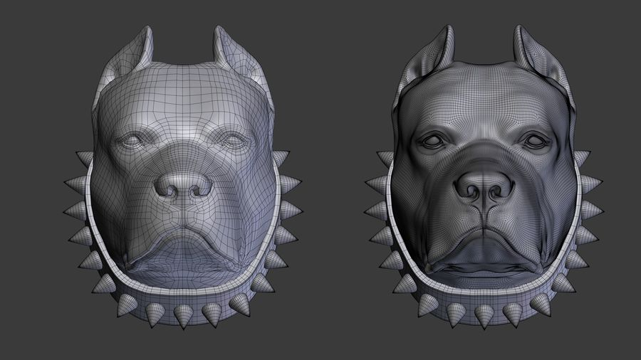 hoofd pitbull royalty-free 3d model - Preview no. 5