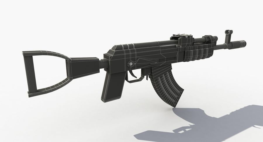 Post Apocalyptic Assault Rifle royalty-free 3d model - Preview no. 9