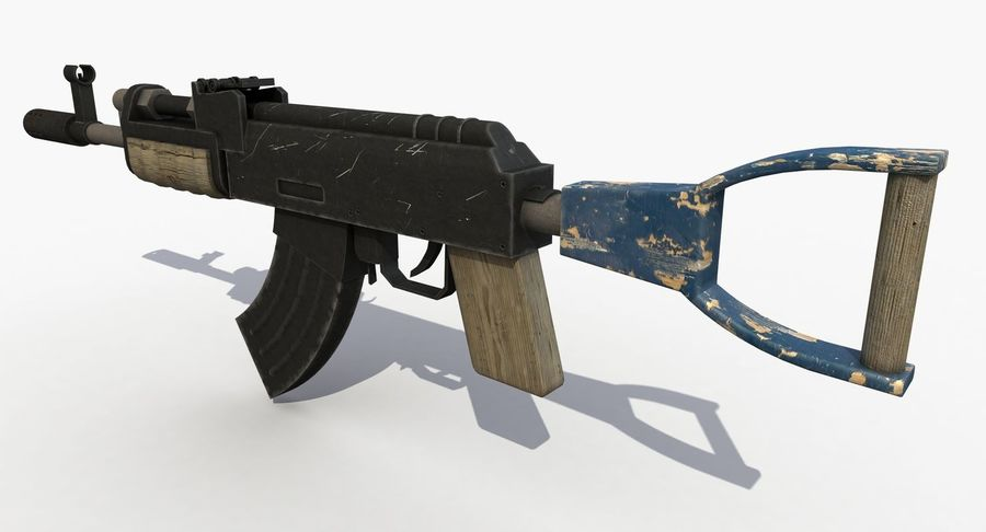 Post Apocalyptic Assault Rifle royalty-free 3d model - Preview no. 3
