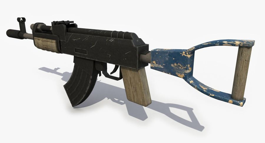 Post Apocalyptic Assault Rifle royalty-free 3d model - Preview no. 2