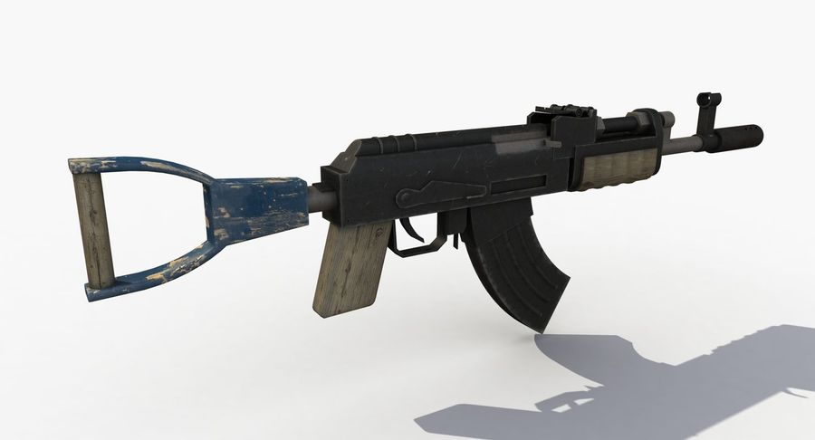 Post Apocalyptic Assault Rifle royalty-free 3d model - Preview no. 4