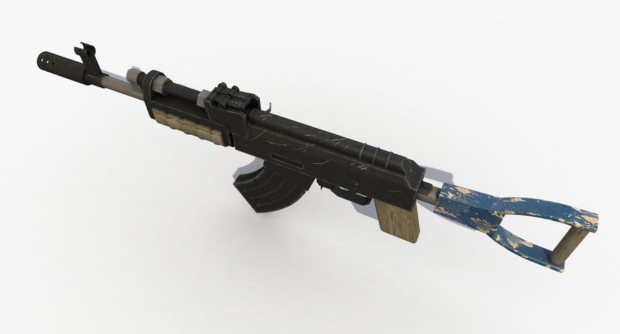 Post Apocalyptic Assault Rifle royalty-free 3d model - Preview no. 7