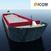 Cargo ship barge loaded with sand 3d model