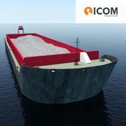 Lancha de carga cargada con arena modelo 3d