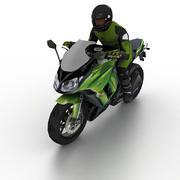 Kawasaki Ninja 1000 2012 avec motard 3d model