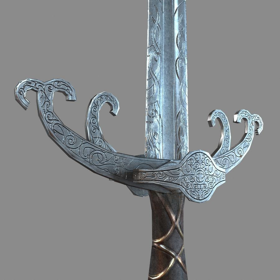 Sword Long Weapon royalty-free 3d model - Preview no. 8