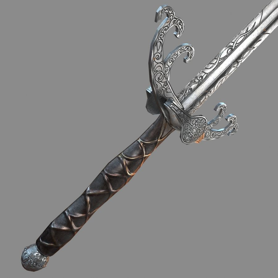 Sword Long Weapon royalty-free 3d model - Preview no. 26
