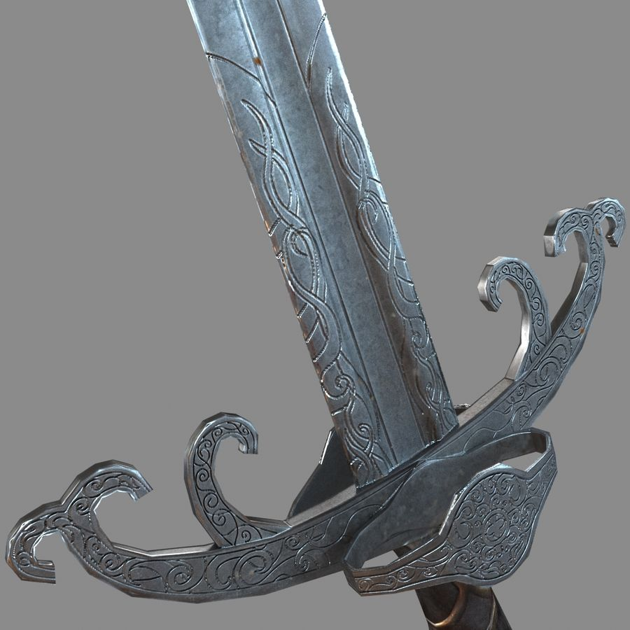 Sword Long Weapon royalty-free 3d model - Preview no. 12